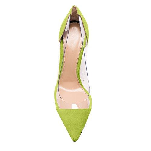 Damen Spitze Zehen Pumps Durchsichtig Sandalen High-Heels Stiletto Rutsch Samt Grün