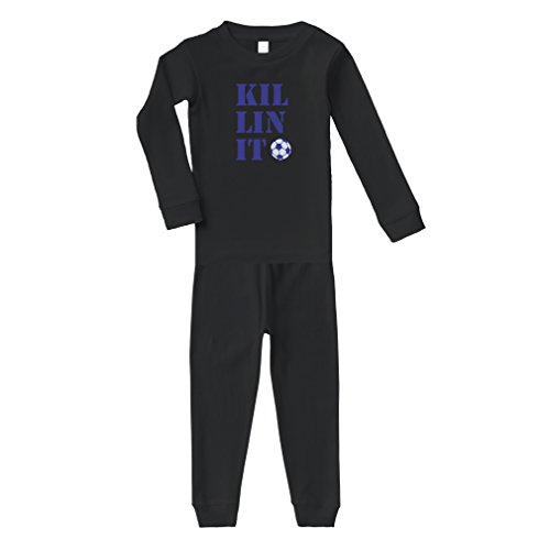 Cute Rascals Kil Lin It's Soccer Ball Soccer Cotton Long Sleeve Crewneck Unisex Infant Sleepwear Pajama 2 Pcs Set Top and Pant - Black, 5/6T