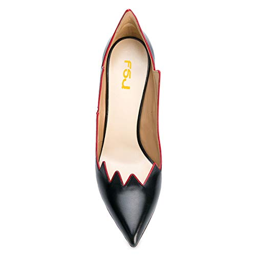 Hot US FSJ Toe Shoes Stilettos Flame High Black Heels 15 4 Pumps Size Sexy Women Fashion Pointed Chic qaXrwaE7
