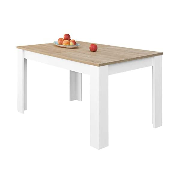COMIFORT T24B/S - Mesa De Comedor Extensible Moderna de 140 a 190 cm, Medidas 140/190x90x78 cm, Disponible en Colores: Blanca, Blanca/Roble, Roble, Wengué, Nordic (Blanco/Roble) look4deco Blog Decoracion