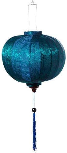 Vietnamese Oriental Silk Bamboo Handcrafted Lantern Lamp Chinese Blue,Small
