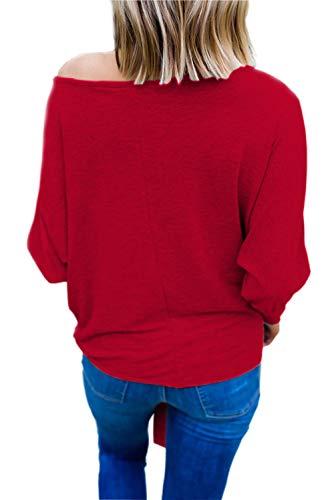 A Top Maglia Donna Camicetta Ragazza Invernali Fiocco Pipistrello Unita Pullover Tunica Rosso con Scollo Barca Maglione Felpa Tempo Autunno Manica Tshirt Forti a Tinta Libero Taglie Fit Eleganti Slim Tumblr zvw7dfxqd