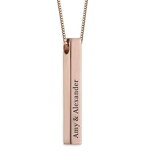 RESVIVI 3D Engraved Personalized Bar Name Necklace Rose Gold Plating Copper Custom Made Any Name Pendant -