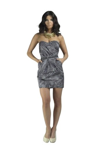 (Alexia Admor - Smoke Print Strapless Dress - S - Grey)