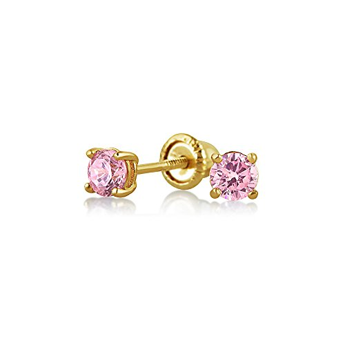 Bling Jewelry Simulated Pink Tourmaline CZ Baby Safety Studs 14K Gold 3mm - 14k Gold Pierced Earrings