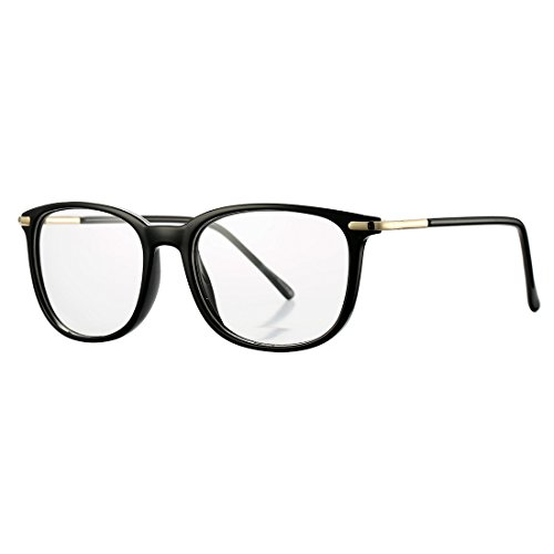 COASION Non-prescription Horn Rimmed Clear Lens Hipster Eye Glasses Frame Metal Temple OpticaL Eyewear (Bright Black, - Hipster Clear Lens Glasses