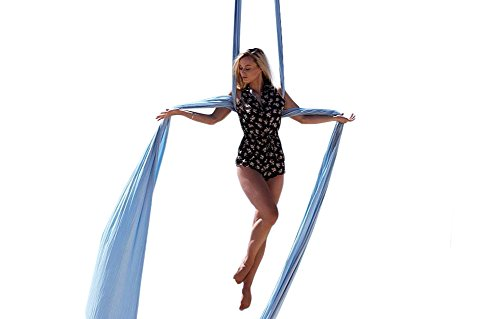 F.Life Aerial Silks Standard Kit Pilates Yoga Flying Swing Aerial Yoga Hammock Silk Fabric for Yoga (10 Yards of Fabric) (Lake Blue)