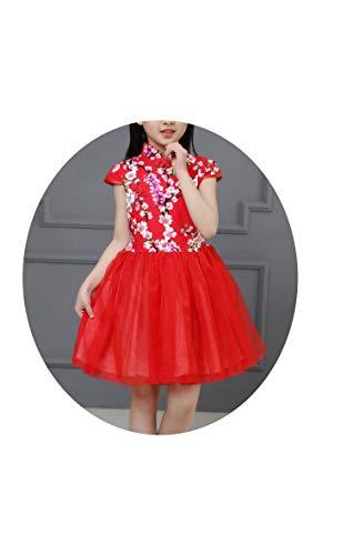 バット頭蓋骨腐敗中国の伝統的な服ヴィンテージ花のボールガウンの女の子のドレスキッズの結婚式のパーティーの衣装,赤,6