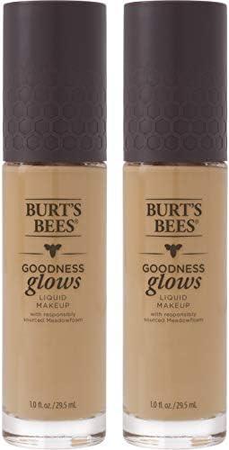 Burt's Bees Goodness Glows Liquid Makeup, Warm Honey - 1.0 Ounce (Pack of 2)