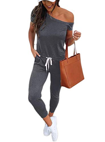 - Women One Off Shoulder Jumpsuits Short Sleeve Casual Skinny Long Pants Rompers with Pockets 4 6