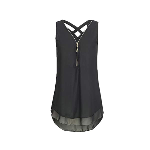 XOWRTE Short Sleeve T Shirt Women Blouse Loose Sleeveless Tank Cross Back Hem Layed Zipper V Neck Black Blue Green Top