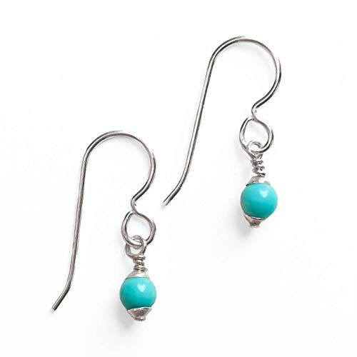 Tiny 4mm Mexican Turquoise Drop Earrings - Bohemian Jewelry