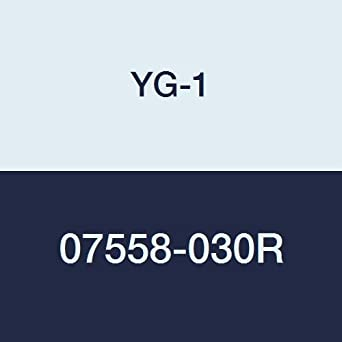 1//8 4 Flute 1-1//2 Length Uncoated Finish Regular Length YG-1 07558-030R Carbide Corner Radius End Mill