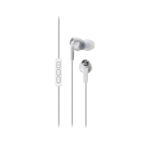 Audio-Technica ATH-CK323i SonicFuel In-ear Headphones with Mic Volume Control, White