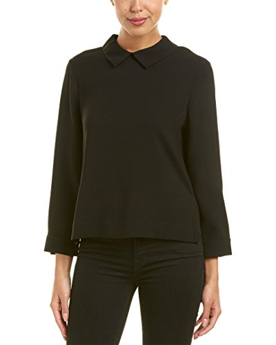 BCBGMAXAZRIA Women's Cecil Woven Collared Top with Flyaway Back, Black, XS by BCBGMAXAZRIA