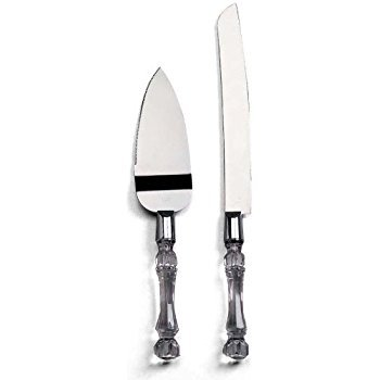 Darice 35745, Knife and Server Set, Faux Crystal -