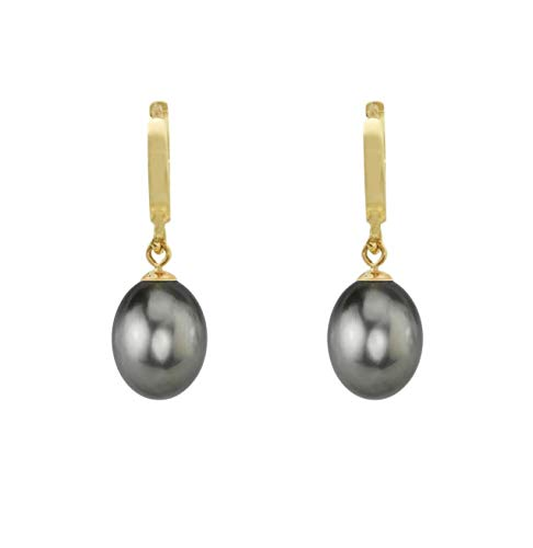 14K Gold Drop Tahitian South Sea High Luster AA+ Cultured Pearl Hoop Earrings (yellow-gold, 8-9mm) ()