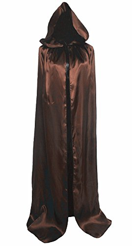 Brown Hooded Robe (Unisex Hooded Cloak Coat Witch Robe Cape Long Halloween Cosplay Party Cloak59
