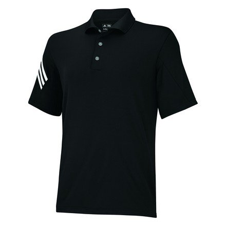 adidas Golf Men's Puremotion Climacool 3-Stripes Sleeve Polo, Black/White, Small
