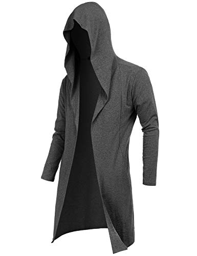 RAGEMALL Mens Long Cardigan Open Front Draped Lightweight Hooded Sweater with Pockets Dark Grey_S