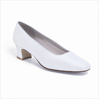 Dyeables Women's Grace Pumps,White Luxe (Peau de Soie),8.5 (Dyeable Dress Shoes)