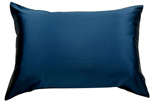 100% Silk Pillowcase for Hair Zippered Luxury 25 Momme Mulberry Silk (King, Navy ()