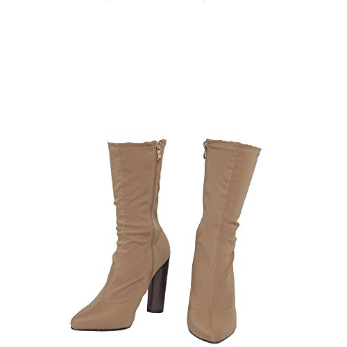 Celeb Size 3 Block Shoes Womens Lycra Ladies Stretch Ankle Boots CORE COLLECTION Heel Mocha HIGH New 8 OFwX78q