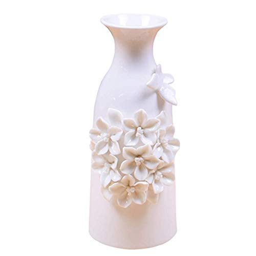 Anding Modern White Ceramic Vase Butterfly and Flower Handmade Ideal for Friends and Family Wedding Desktop Center Vase Perfect Home Decor Vase by Anding