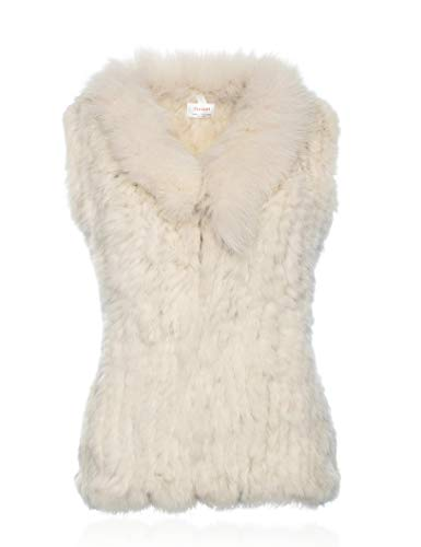 HEIZZI Genuine Rabbit Fur Vest with Fox Fur Collar Soft Snow