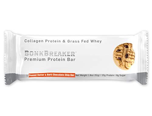 Bonk Breaker Collagen Protein Bar, Peanut Butter & Dark Chocolate Chip, 1.8 Oz (12 Count), Gluten Free & All Natural Sweeteners