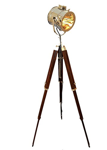- Marine Signal Tripod Floor Lamp - Hand Made with Brilliant Chrome Finish