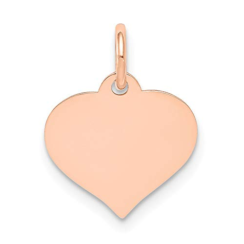 (Jewels By Lux 14k Rose Gold Heart Disc Charm )
