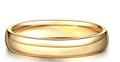 Epinki 18K Gold Ring High Polish Wedding Ring Men Ring Engagement Ring Gold with Yellow Diamond Size 10.5 ()