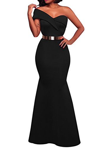 Eiffel Women's One Shoulder Dress Bodycon Prom Party Evening Gown Long Maxi Dresses (Medium, Black)