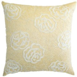 Room with a View C815 gold gold polysilk with cord beige cord embroidery pillow. by Room with a View