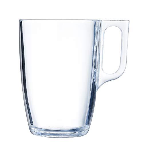 Luminarc Nuevo Set 6 tazas desayuno mugs cafe de vidrio para microondas 40cl, Negro