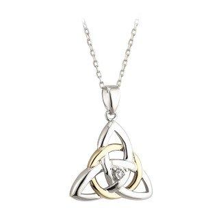 Celtic Trinity Knot Necklace Silver 10K Gold & - Gold White Trinity Pendant Knot