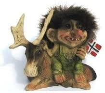 Amazon Com Nyform Trolls Original Handmade Norway Sitting On Moose Waving Norwegian Flag Home Kitchen