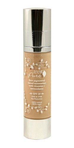 100% Pure: Fruit Pigmented Tinted Moisturizer with Spf 20 Golden Peach, 1.7 oz, organic White Tea, Acai Oil, Pomegranate Oil, Vitamins and Antioxidants Deliver Necessary, Skin Beneficial Nutrients