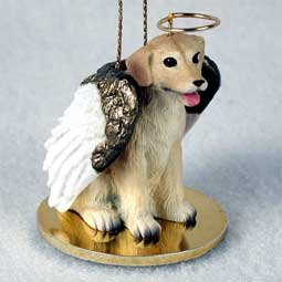 Yellow Labrador Retriever Tiny One Dog Angel Christmas Ornament (Ceramic Insert 3')