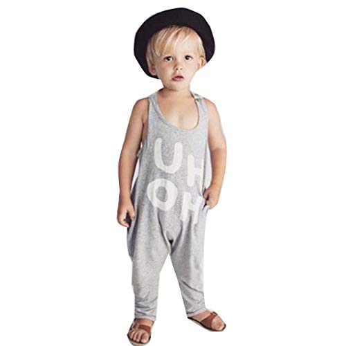 Emimarol Summer Toddler Baby Boys&Girls Sleeveless Letter Print Backless Jumpsuit Romper Gray