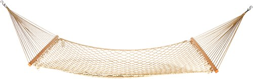 AmazonBasics LF60161 Cotton Rope Hammock, Beige - Double Wide solid wood Heavy duty cotton rope fabric When hanging the hammock, the suggesting Height of hammock's rock bottom is 115-130cm - patio-furniture, patio, hammocks - 312ESW8RHBL -