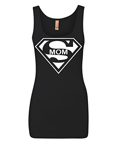 Super Mom Funny Women's Tank Top Superhero Parody Mother's Day Top Black XL