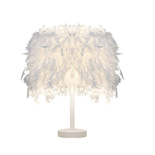 - giwswfafSimple Bedroom Bedside Hotel Boutique Home Button dimming LED White Pole Feather Table lamp