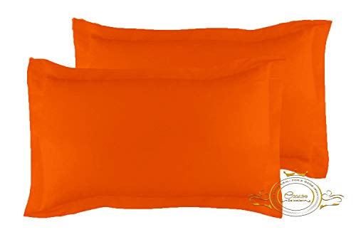 Crown Collection Orange Solid Queen Pillow Shams Set of 2 - Hypoallergenic 600-TC 100% Egyptian Cotton Decorative Tailored Poplin Pillow Cover (Orange, Full XL/Twin XL/Queen 20'' x 30'')