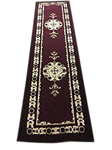 Americana Traditional Persian Runner Rug Burgundy Black Beige Design 121 (2 Feet X 7 Feet 3 Inch)