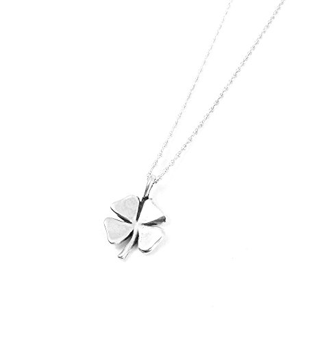(Four Leaf Clover Necklace Sterling Silver Lucky Charm Good Luck Jewelry (16 Inches))
