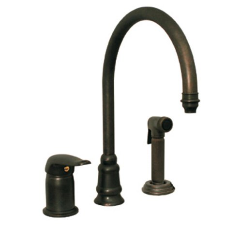 Whitehaus WH18664-SBRAS Evolution 9 1/2-Inch Three Hole Faucet with Single Lever Mixer, Gooseneck Spout, and Fluted Side Spray, Speckled Brass Evolution Single Lever Faucet