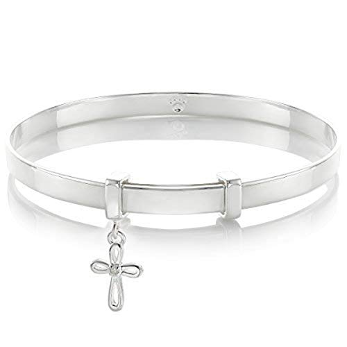 - Molly B London | 925 Sterling Silver Baby's Cherish Diamond Cross Baptism Bangle