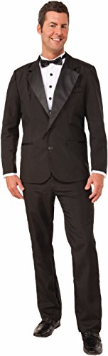 Forum Novelties Men's Instant Zip-Up Tuxedo Costume, Black, Large